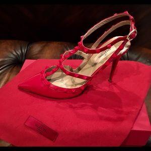 Valentino Rockstud Red Patent Pumps Size 40